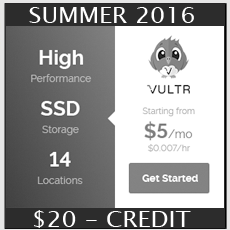 Vultr -Summer 2016 Promo!